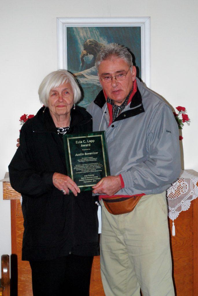 Mary Wallace, IP-SIG Director, with Austin Bovenizer, 2013 Eula Lapp Award winner
