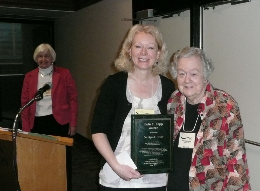 Mary Wallace, IP-SIG Director, Carolyn Heald, 2011 Eula C Lapp Award winner with her mother Pat Heald