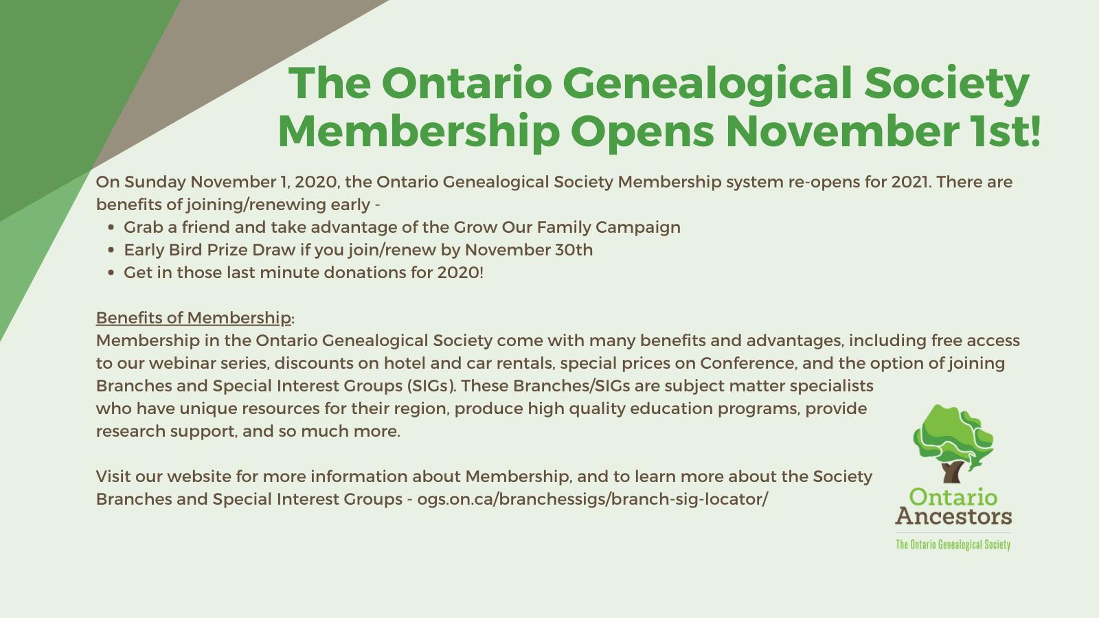 Ontario Genealogical Society Membership Opens November 1st